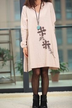 applique babydoll linen long sleeved dress by MaLieb on Etsy, $76.00