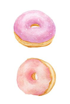 ORIGINAL-Gemälde - Rosa Krapfen (Food Aquarelle Wall Art, Stilleben) A5 ForestSpiritArt