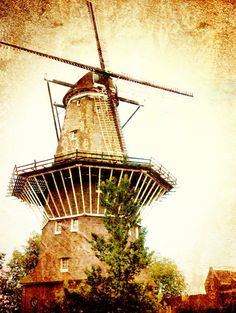 Rustic Windmill in Amsterdam Holland  Fine Art 8x10 by AnnaDelores
