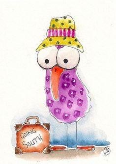 Lucia Stewart Whimsical Spring Bird Hat Go South