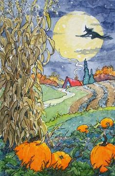 """A Quiet October Flight Storybook Cottage Series"" - Original Fine Art for Sale - © Alida Akers"
