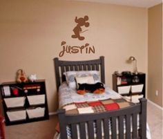 This  wall #decal measures  approx. 22 x 22    This wall decal will add the finishing touch to your little Mickey fan's room. With a matte finish it will look like it's pa... #custom #vinyl #home #large #gift #boy #bedroom #construction #christmas