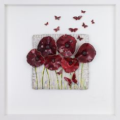 Rich red poppies in a wild meadow with happy, energetic red butterflies dancing amongst the flowers. Anzac Poppy, Remember Day, Red Umbrella, Anzac Day, Raku Pottery, Red Butterfly, Clay Flowers, Paper Clay, Air Dry Clay