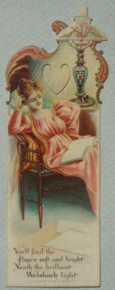 1901 WELSBACH LIGHTING CELLULOID ADVERTISING BOOKMARK