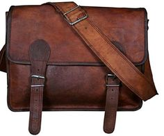 "Cool Stuff Leder Laptoptasche 16"" Umhängetasche Ledertasche Vintage Überschlagtasche Umhängetasche Messengerbag Ledertasche Leitz Ordner Braun"