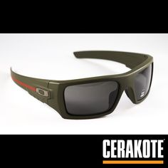 These custom Oakley sunglasses feature a Thin Red Line theme using Cerakote Coatings.