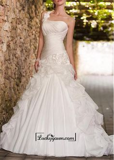Amazing Organza Satin & Satin A-line One Shoulder Neckline Ruchd Drop Waist Pick-up Wedding Gown With Handmade Flowers
