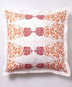 Anthropologie Abaza Collection Euro Pillow Sham Tangerine Orange #Anthropologie #ABAZA