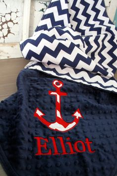 I LOVE THIS!!!  Navy Chevron Minky Baby Blanket with Anchor Applique and Embroidered Name. $44.00, via Etsy.