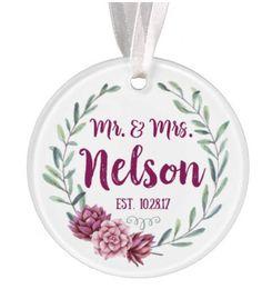 Watercolor Wedding Ornament Christmas Ornament Personalized Wedding Ornament Wedding Gift Mr Mrs Ornament Ryelle Christmas Christmas