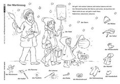 Through the year - Sankt Martin Lantern parade Becker Hl Martin, Saint Martin, Free Printable Coloring Pages, Coloring Pages For Kids, Kindergarten Portfolio, German Words, Pre School, Art Education, Elementary Schools