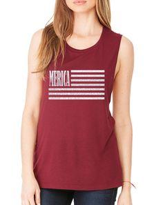 Women's Flowy Muscle Merica Glitter White Flag USA Top  #tanktop #merica #ustrendy #usaflag #patriotic