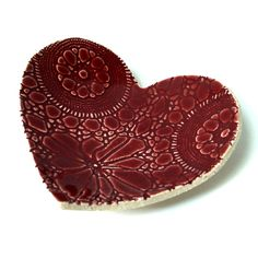 Ruby red heart plate in cream stoneware ceramic pottery Vintage lace texture Candle holder Ring dish Soap dish Love heart Wedding gift ideas.