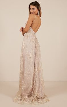 V Neck Backless Champagne Lace Prom Dresses, Backless Champagne Lace Formal Evening Pink Prom Dresses, Wedding Bridesmaid Dresses, Homecoming Dresses, Glam Dresses, Beautiful Dresses, Nice Dresses, Formal Dresses, Formal Outfits, Evening Dresses