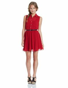 My Michelle Juniors Sleeveless Collar Dress with Belt, Cranberry, Large My Michelle,http://www.amazon.com/dp/B00E3N078U/ref=cm_sw_r_pi_dp_cglctb11MG9X2NZM