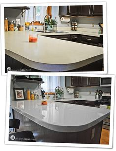 This woman tells how she painted and sealed her counters to go from the laminate in the top to the natural stone look in the bottom picture. Total cost? About 120 bucks.