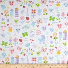 Fabric.com $7.58 per yd. Flannel Hearts & Flowers White