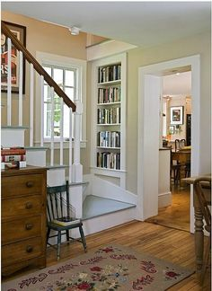 traditional staircase by Smith & Vansant Architects PC Built-in Bookcase Bookshelves Built In, Built Ins, Book Shelves, Staircase Bookshelf, Book Storage, Bookshelf Design, Small Bookcase, Storage Ideas, Movie Storage