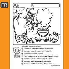 Fichiers PDF téléchargeables Langue: français Versions en script et en cursif En noir et blanc uniquement 1 page par fichier Taille d'une page: 8,5 X 11 po. L'enfant complète le dessin en suivant les consignes données. Niveau 1er cycle.