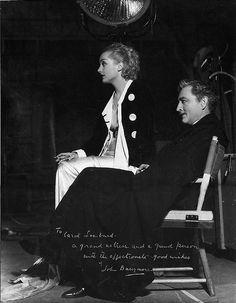 Carole Lombard and John Barrymore on the set of Twentieth Century