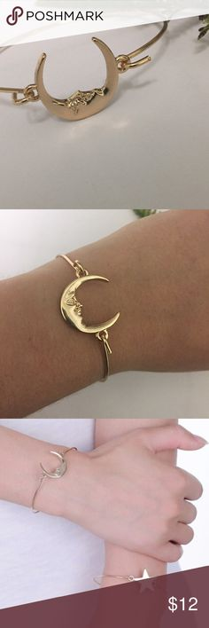 Golden Moon Bangle Golden crescent moon bangle is not adjustable  and suitable for smaller wrists. See separate listing for star bangle.   All Pineapple.PalmBeach jewelry and hair pins come packaged on crisp white packaging and tucked carefully into white chiffon pouches ready for you or a friend to enjoy!   Don't forget to shop my closet for a bundle discount!   Suggested User! 5 Star Rated Seller!  Same or next day shipper! No trades Pineapple.PalmBeach Jewelry Bracelets