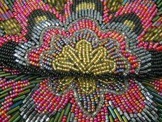 La Regale Black Beaded Clutch Purse Deep Pink Gold Flower Pattern Vintage #LaRegale #EveningBag