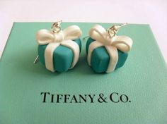 Tiffany inspired  giftbox earrings handmade of by PinkFlamingoShop, $12.50