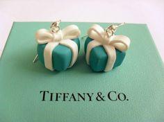 Tiffany inspired  giftbox earrings handmade of by PinkFlamingoShop, $12.50