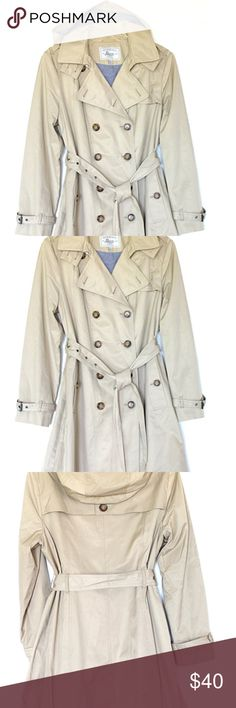 """GH Bass Women's Trench Coat 35"""" Trench coat with removable hood. Chambray lined. Lightweight. Worn twice. Bass Jackets & Coats Trench Coats"""