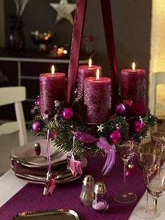 ~ Puple Candles w/ China & Crystal....