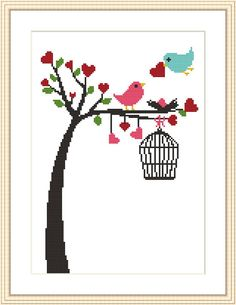 Counted cross stitch pattern by MagicCrossStitch Cross Stitch Tree, Cross Stitch Animals, Counted Cross Stitch Patterns, Cross Stitch Charts, Cross Stitch Designs, Cross Stitch Embroidery, Embroidery Patterns, Bordado Tipo Chicken Scratch, Crochet Cross
