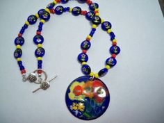 Copper Enamel Pendant and Beaded Necklace by fyfchicenergy on Etsy, $35.00