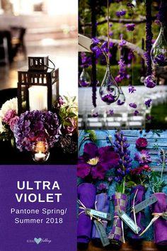 Combinaciones de colores para bodas primaverales del 2018: Ultra Violet y Arcadia o Blooming Dahlia.