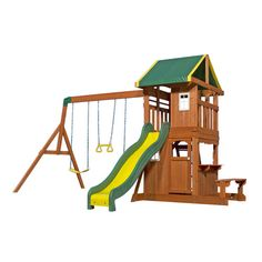 Backyard Discovery Oakmont Residential Wood Playset at Lowe's. The Oakmont has some really neat features that make it great for smaller yards but keep the kids playing all day long. First, the raised fort has a Playground Flooring, Backyard Playground, Backyard For Kids, Playground Ideas, Backyard Ideas, Pergola Ideas, Backyard Toys, Pergola Kits, Cedar Swing Sets