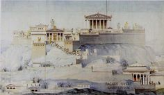 Marcel Lambert's hypothetical reconstruction drawing of the Acropolis in Athens in 1877