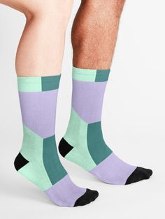 Do You Like  Abstract Color Art  Socks  ?? Do You Like mint, green, lila, purple, shapes, geometric, pattern and triangle ?? a perfect gift for you your family and your friends !!