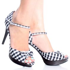 Black Gingham Bow Peep Toe