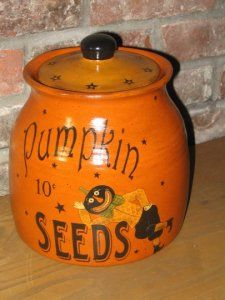 Primitive Pumpkin Seed Crock (Would be fun to somewhat duplicate in Ceramics Class) This Crock with it's Whimsical Pumpkin Man, has a Vintage feel of the Childhood Halloween's of the Halloween Fashion, Halloween 2019, Holidays Halloween, Happy Halloween, Vintage Halloween, Halloween Crafts, Pumpkin Man, Primitive Pumpkin, Fall Pumpkins