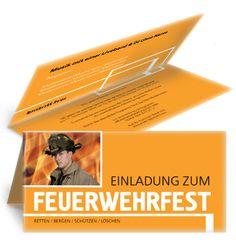 Orange Einladungskarte für Feuerwehrfeste. #einladungskarteorange #einladung #feuerwehrfesteinladungskarte