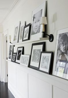 Gallery wall ... narrow shelf makes changing pics easy