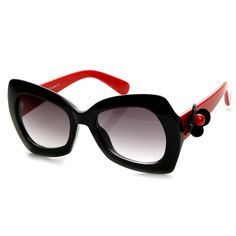 Womens Oversized Bold Frame Butterfly Temple Sunglasses