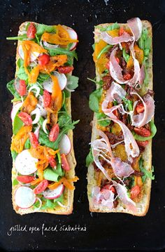 Open faced grilled ciabatta: Basil pesto, arugula, roasted yellow bell pepper, sun dried tomatoes (in oil), cherry tomatoes and prosciutto. Top with white cheddar, mozzarella or goats cheese (your choice) and drizzle with olive oil and pinch of pepper.