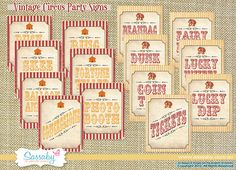 Vintage Circus Game/Carnival Signs - Party Decorations - DIY PRINTABLE FILES by Sassaby