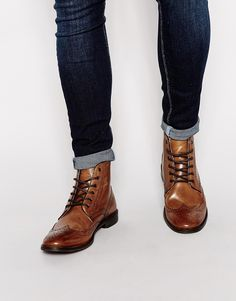Image 1 of ASOS Brogue Boots in Leather