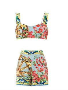 Floral-brocade top and shorts set | Dolce & Gabbana | MATCHESF...