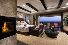 Extraordinary master bedroom with stunning views from balcony (Toll Brothers at Amalfi Hills, CA)