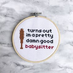 """Steve turned into our favorite mom on Stranger Things. Celebrate his parental instincts with this funny pattern. Instant download!  This hilarious pattern is 64 x 50 stitches or 4.5"""" x 3.5"""" on 14ct Aida Cloth. Item is an instant PDF download with three total pages. PDF includes"""