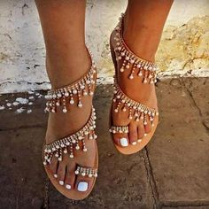 SALE Women sandals 2018 new summer shoes flat pearl sandals comfortable string bead slippers women casual sandals size 34 - 43 Item Type: SandalsClosure Type: Slip-OnOutsole Material: PVCSide Vamp Type: OpenBack Counter Type: Back StrapInsole Material: Bo Pearl Shoes, Pearl Sandals, Flat Sandals, Beaded Sandals, Flat Shoes, Sandals 2018, Gladiator Sandals, Bridal Sandals, Trendy Sandals