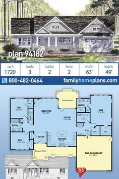 Cottage, Country, Craftsman, Ranch, Southern, Traditional Style House Plan 94182 with 3 Bed, 2 Bath, 2 Car Garage A quick look at this traditional ranch house floor plan and you will understand why it is our number one best selling one story home design. A three bedroom, 2 bathroom, house floor plan with a wide open layout through the living space and a split bedroom design. The layout has the kitchen at the front of the house. Two car garage and covered entrances front and back are… Cottage Style House Plans, House Plans One Story, Cottage Style Homes, Ranch House Plans, Craftsman House Plans, New House Plans, Dream House Plans, Small House Plans, House Floor Plans