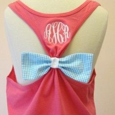 Monogrammed racer back tank top with a seersucker bow. #monogram #seersucker #bow